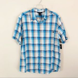 Men's Marmot • Blue Plaid Button Down Shirt Large
